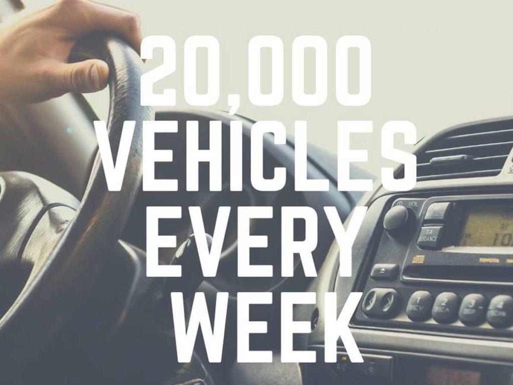 20,000 vehicles every week
